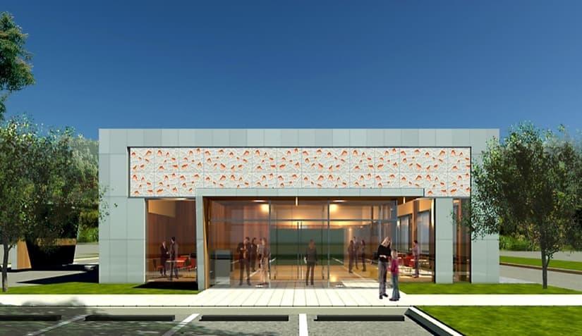 Panel revestimiento con material corian para fachadas - Paneles decorativos exterior ...