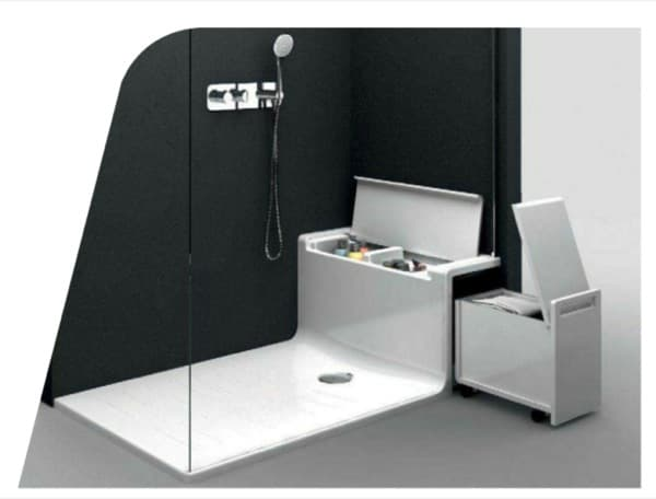 Hide seat plato de ducha con asiento y almacenaje de roca for Platos de ducha antideslizantes roca