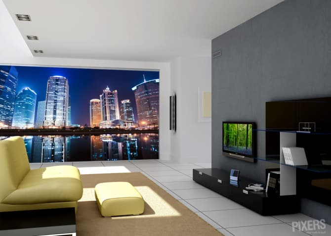 Decorar las paredes con fotomurales de pixers for Decoracion paredes interiores