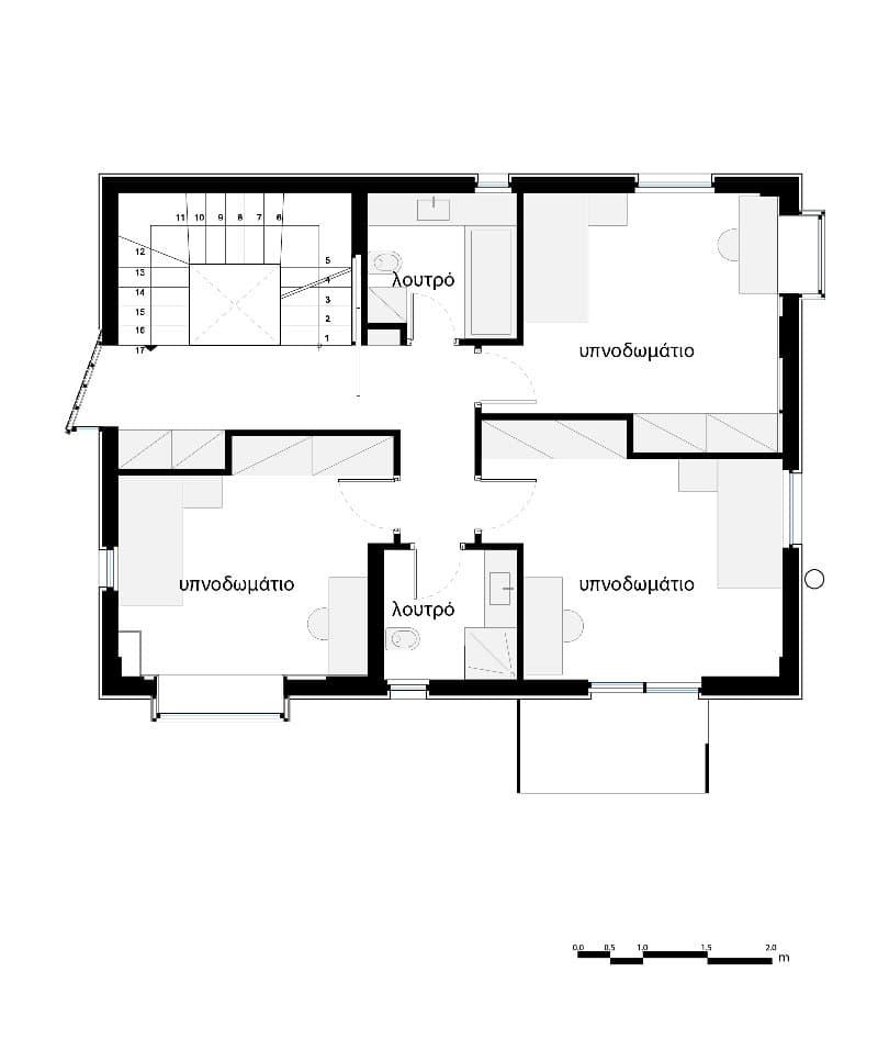 Baño Vestidor Planta:Esta vivienda unifamiliar es un proyecto de los arquitectos de KLab