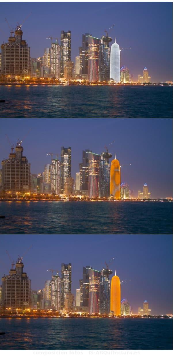 torre-Burj-Doha-iluminada-de-noche