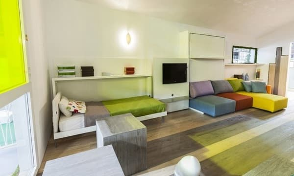 Camas abatibles para espacios reducidos for Muebles convertibles