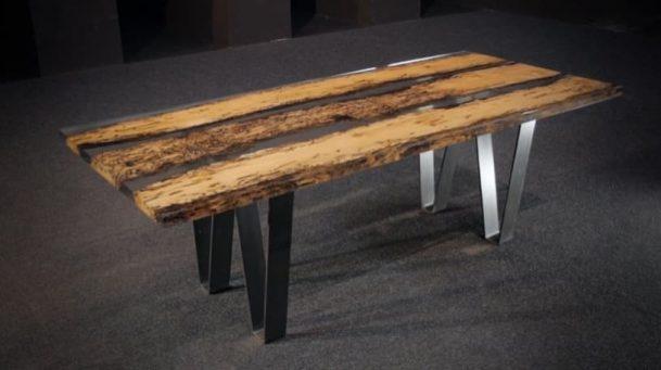 chimenti mesa con tablero de madera y resina. Black Bedroom Furniture Sets. Home Design Ideas