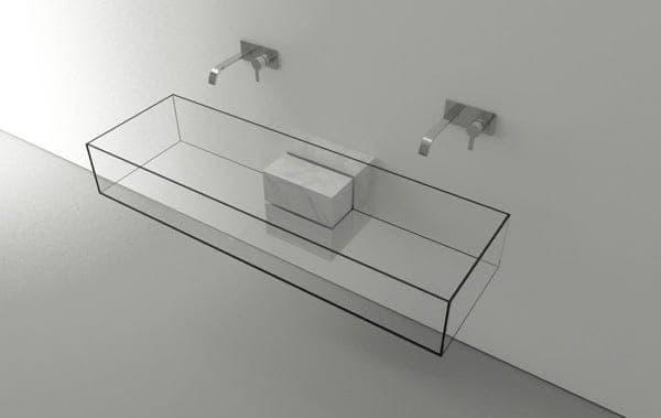 Lavabo minimalista de vidrio y m rmol de carrara kub for Lavabo minimalista