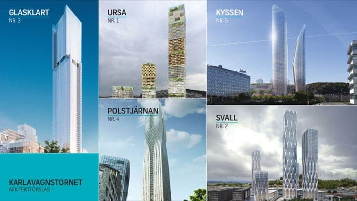 5 propuestas para un rascacielos en Gotemburgo