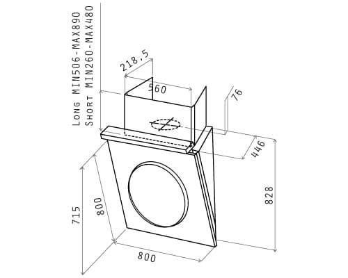 Extractor Baño Ultra Silencioso:Dimensiones del aparato extractor de aire OM