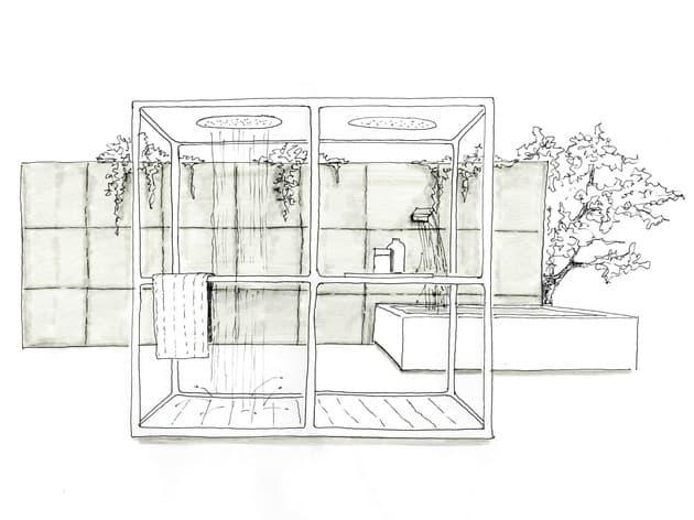 Cabinas De Ducha Kos:cabina de ducha ha sido diseñada por Ludovia y Roberto Palomba para
