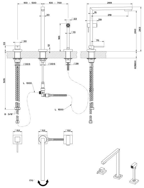 Minimo grifo de cocina de dise o minimalista - Grifo cocina pared 11 cm ...