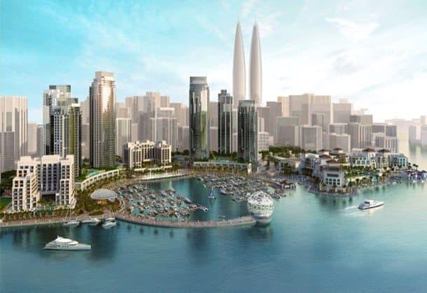 Torres-gemelas-Dubai-Creek-Puerto