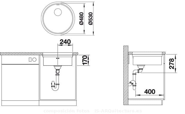 Fregadero redondo ronis con accesorios puente fabricado for Dimensiones fregadero
