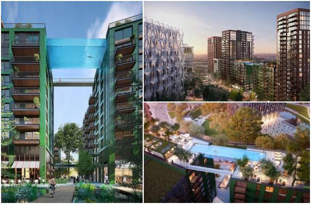 piscina transparente haciendo de puente entre 2 edificios