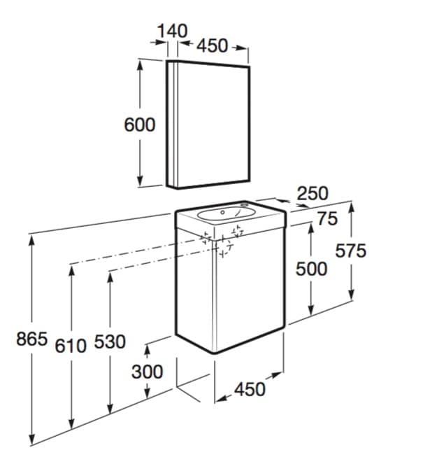Muebles de ba o para espacios reducidos de roca for Medidas de mobiliario de cocina