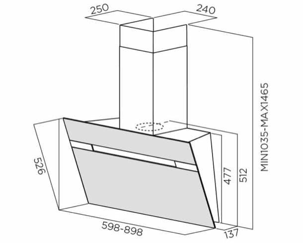 campana extractora Stripe dimensiones
