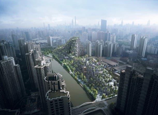 Colinas artificiales para el M50 de Shanghái