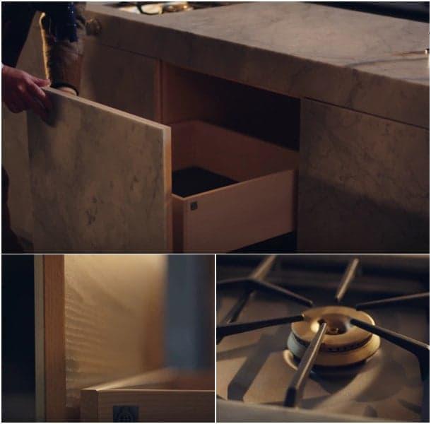 cocina de marmol de Carrara - detalles
