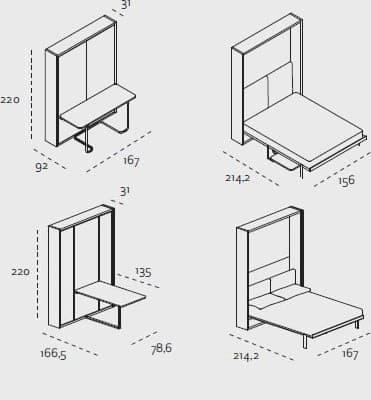 Cama abatible con mesa que se queda oculta de clei - Como hacer una cama abatible ...