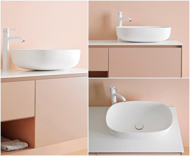 Ovalo-moderno lavabo corian