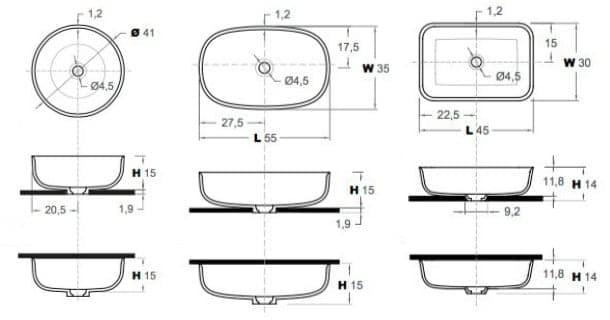 dimensiones lavabos de corian Inbani