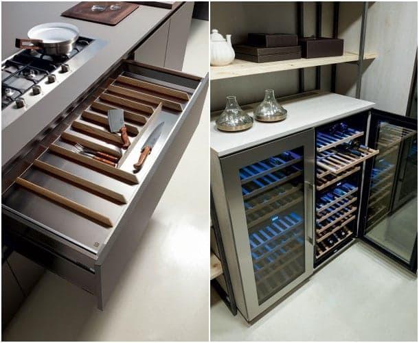 Cocina con puertas de acero inoxidable y acabado ecol gico for Accesorios para cocina en acero inoxidable