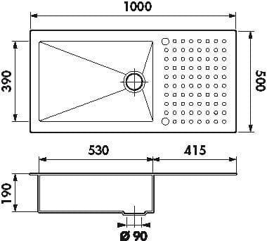dimensiones fregadero OPUS