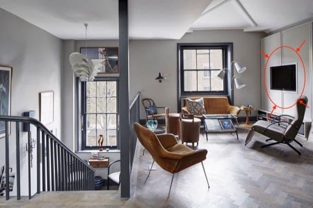 apartamento-loft-Londres-pared-TV