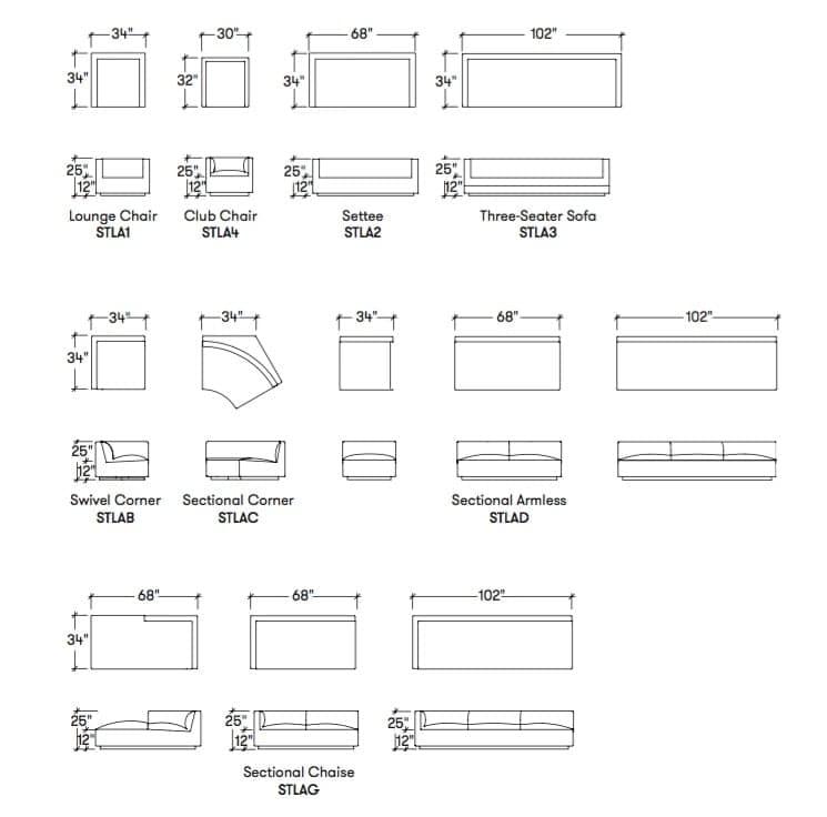 Muebles modulares de la colecci n infinito mesa baja y sof s for Dimensiones de mobiliario