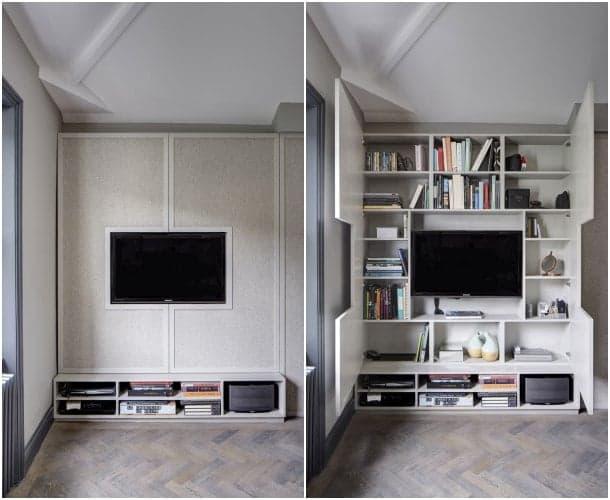 Mueble para tv de dise o personalizado con gran estanter a - Muebles de television de diseno ...