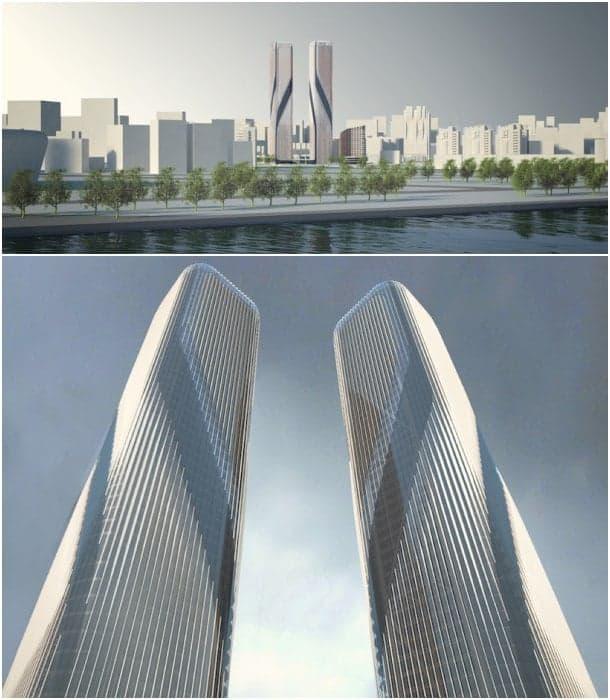 renders torres gemelas puerta Hangzhou
