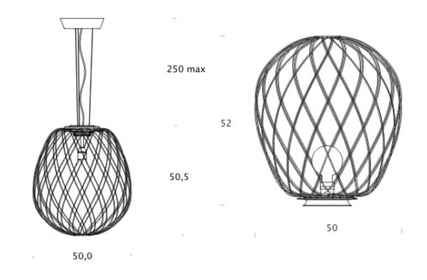 dimensiones lámparas Pinecone