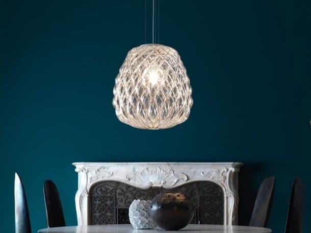 lámpara de vidrio soplado enjaulado Pinecone