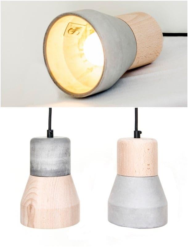 L mpara de madera y cemento cementwood de thinkk studio - Lamparas con madera ...