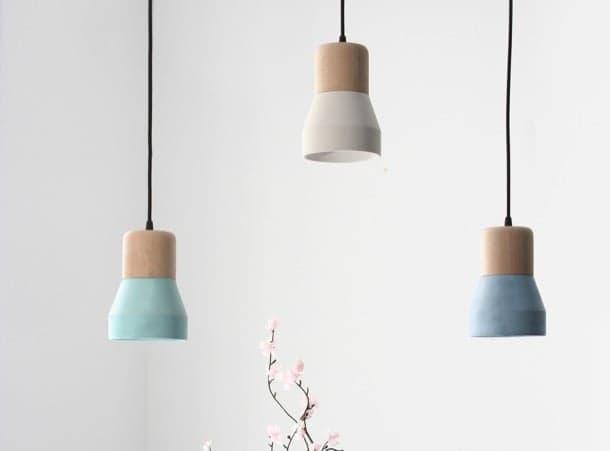 lámpara de madera y cemento CementWood