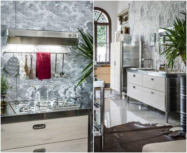 Cocina peque a hecha de acero inox con placa y fregadero - Muebles de cocina de acero inoxidable ...