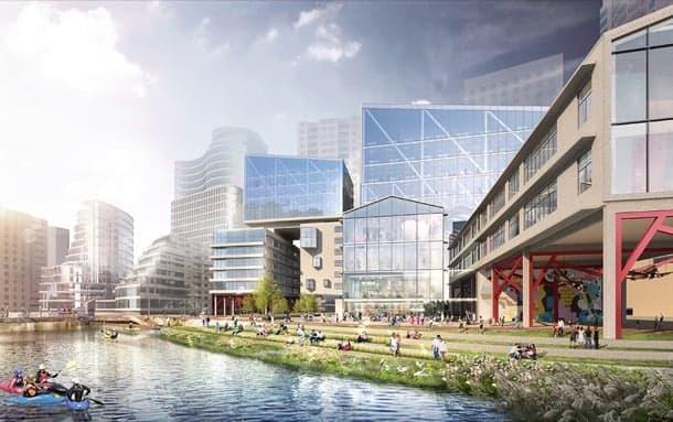 plan urbano suzhou creek shanghai render