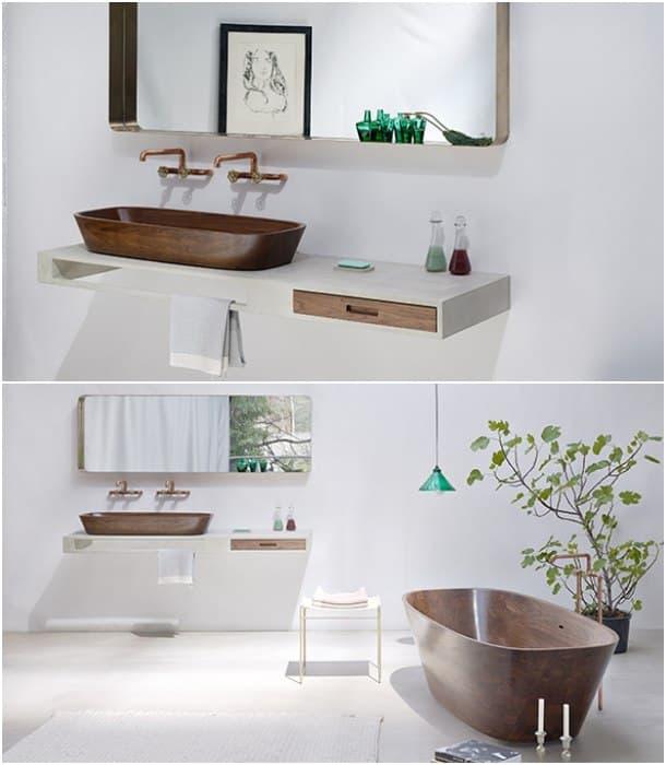 diseños en madera para el baño