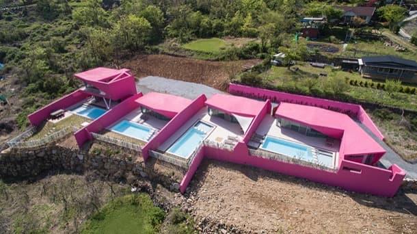 conjunto de casas rosadas miryang-pool-villa