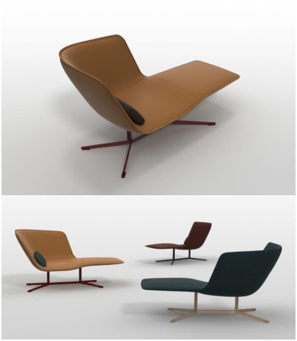 Eydo moderno divan en cuero y bronce