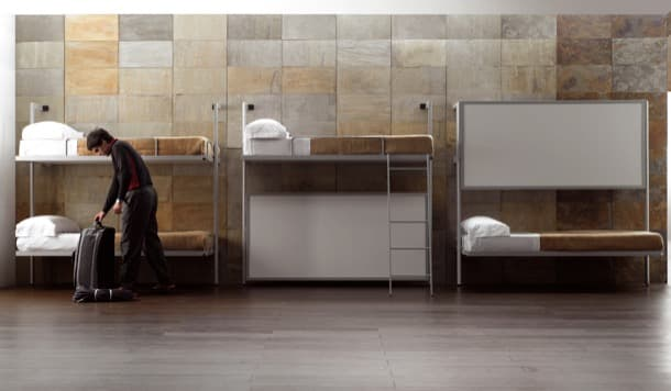 albergue con camas litera abatibles