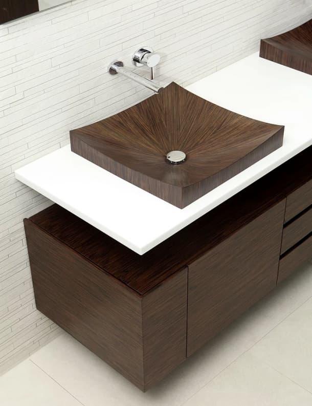 detalle lavabo de chapa de madera Laguna Pure