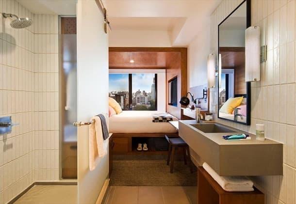 ideas para dormitorio pequeño hotel Arlo Nueva York