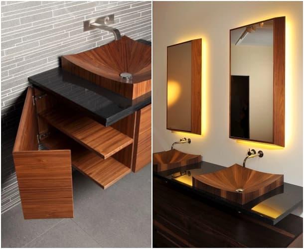 mueble con lavabos de chapa de madera
