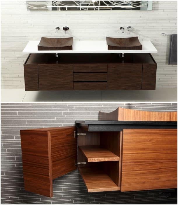 muebles baño lavabo de chapa de madera