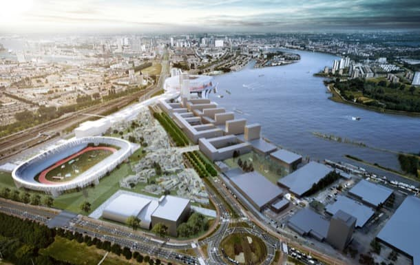 render aéreo plan Feyenoord City Rotterdam OMA