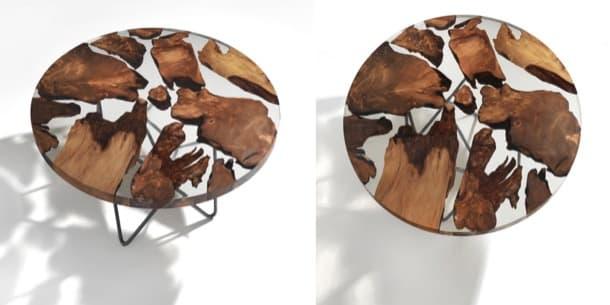 Earth mesa de resina y madera