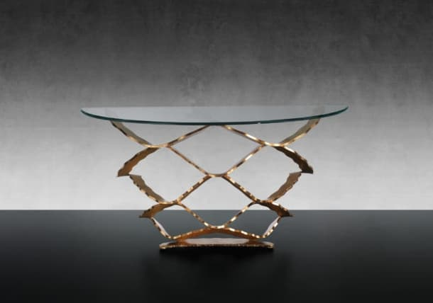 Neolitico mesa consola de hierro forjado y cristal de Murano