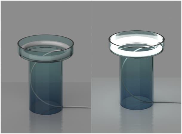 lampara de sobremesa de vidirio azulado HALO