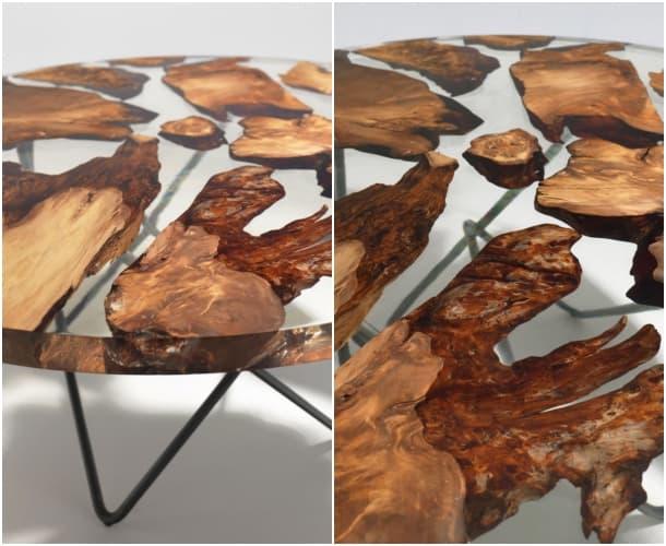mesa Earth detalles tablero resina y madera kauri