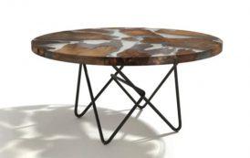 EARTH: mesa con tablero de madera y resina transparente