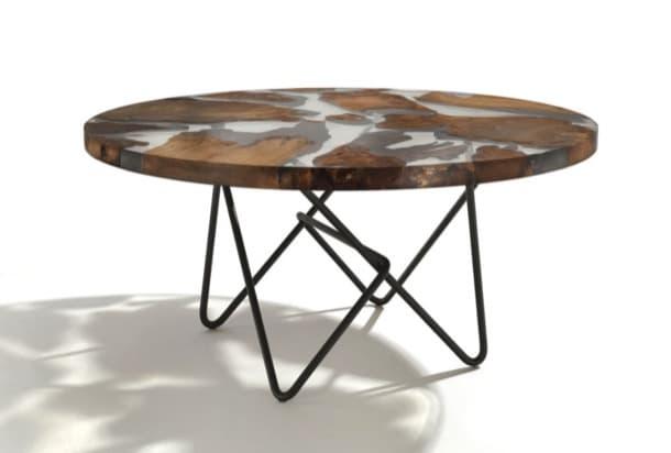 mesa de madera y resina transparente Earth
