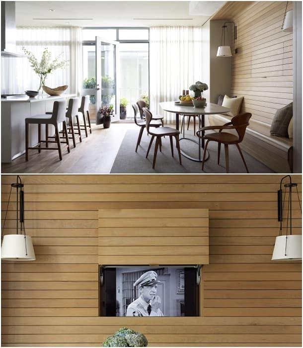 ocultar una tele en la pared de madera